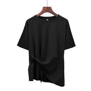 Tops - Asymmetrical Tie-Front Black Short Sleeve Tee